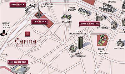 Parigi Cartina Metro.Mappa E Accesso Hotel Carina Tour Eiffel Parigi Vicino All Torre Eiffel